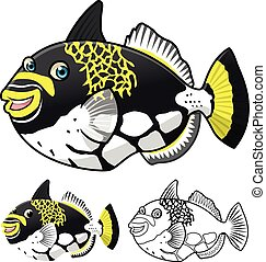 Triggerfish Cartoon Character - High Quality Triggerfish...