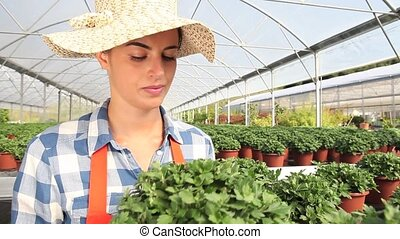 smiling woman in greenhouse with plants