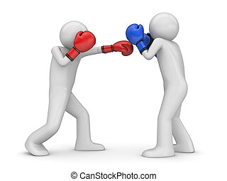 Atack and defence in boxing! - 3d isolated characters sports...