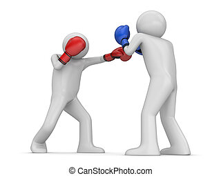 Atack and defence in boxing - 3d isolated characters sports...