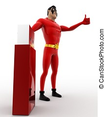 3d superhero with usb pendrive concept on white background,...