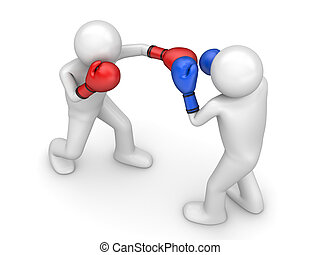 Atack in boxing - 3d isolated characters sports series