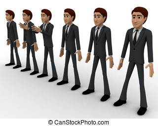 3d group of men standing in line to represent team concept
