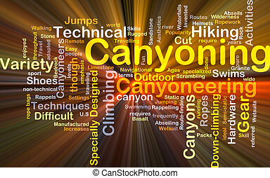 Canyoning background concept glowing