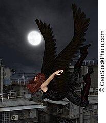 Female Urban Guardian Angel, Flying - Fantasy illustration...