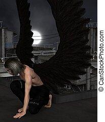 Male Urban Guardian Angel, Kneeling