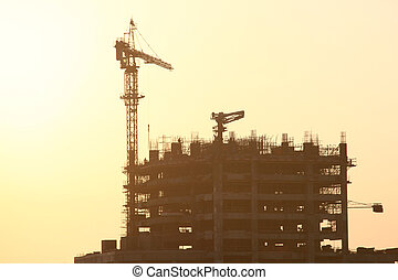 Construction Site In Dubai - Construction Site With Crane On...