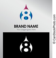 Number eight 8 logo icon template elements