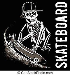 Skull Skateboard - silhouette Of Skull Skateboard