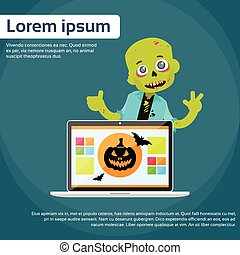Laptop Computer Zombie Boy Scary Cartoon Character Smile...