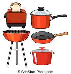 Kitchenware in red color