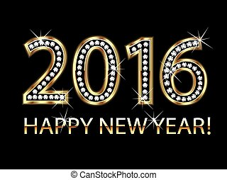 Happy new year 2016 gold background vector
