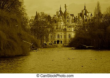 Fairy Castle - A sepia fairy tale castle with a lake