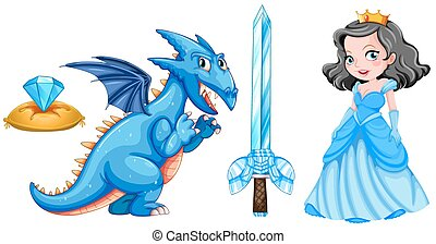 Fairytales set with princess and dragon illustration