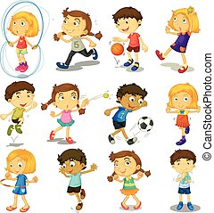 Boy and girl doing many activities illustration