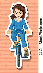 Woman in jumpsuit riding bicycle illustration
