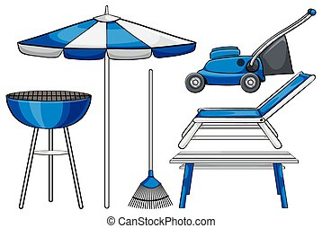 Gardening tool and BBQ stove illustration