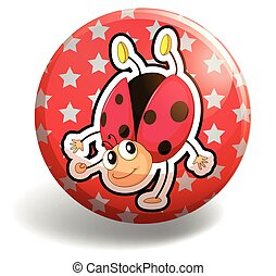 Ladybug on red badge illustration