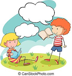 Boy and girl reading books in the park