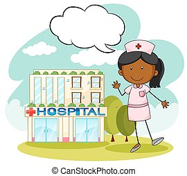 Nurse standing in front of hospital