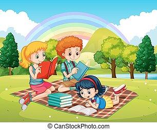 Children reading books in the park illustration