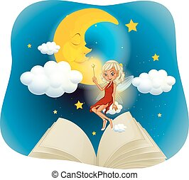 Fairy flying in the sky at night time illustration