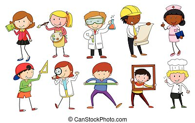 Mand and woman in different occupations illustration