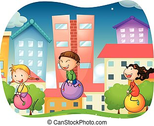Boy and girls bouncing on the ball in the park illustration