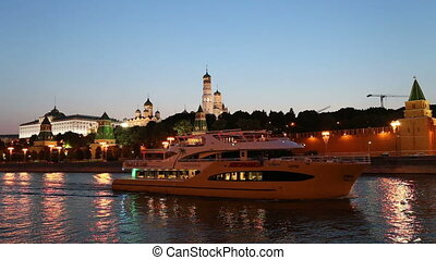 Moskva River near the Kremlin - Tourist pleasure boat on the...