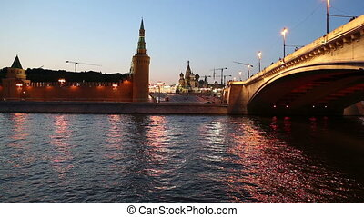 Kremlin at night, Moscow, Russia - Moskva River and Kremlin...