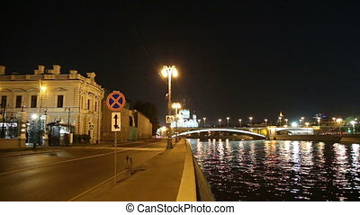 Kremlin (at night), Moscow, Russia - Moskva River and...