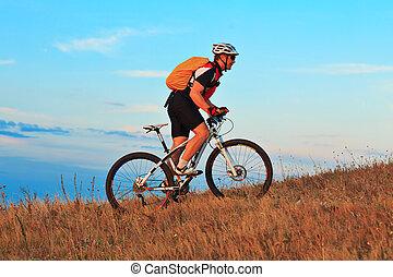 Mountain Bike cyclist riding outdoor - Mountain Bike cyclist...