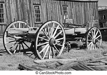 wooden wagon in western ghost town, usa - photo of wooden...