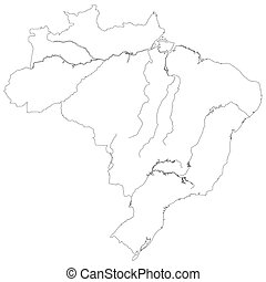 Contour map of Brazil - Contour silhouette map of the...