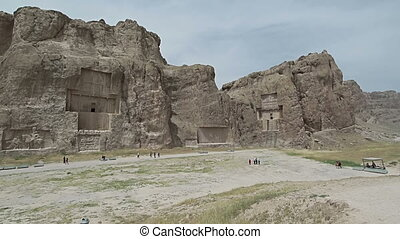 Naqsh-e Rustam Panorama of the historical four tombs...