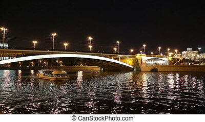 Moskva River at night, Moscow - Great Stone Bridge and...