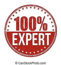 100 Expert stamp - 100 Expert grunge rubber stamp on white...