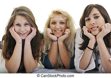 happy three young girls isolated on white - happy three...