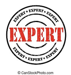 Expert stamp - Expert grunge rubber stamp on white...