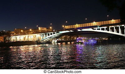Tourist pleasure boat ,Moscow - Luzhnetskaya Bridge Metro...