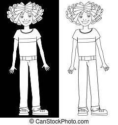 Boy with dreadlocks, black and white illustration
