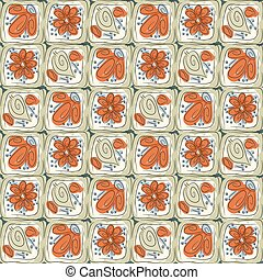 Abstract tiles with flowers and leaves