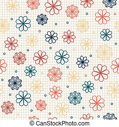 Seamless pattern with flowers in warm colors - Seamless...