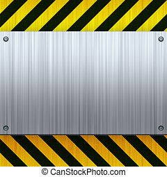 Hazard Stripes Brushed Metal - A riveted 3d brushed metal...