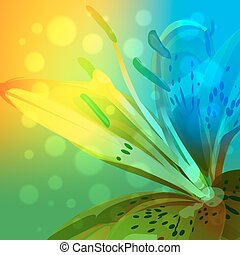 Abstract lily background - Abstract floral background with...
