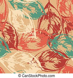 Grunge pattern with leaves on warm background