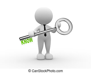 Know concept - 3d people - man , person and big key Know...