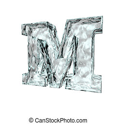 frozen letter m - frozen uppercase letter M on white...