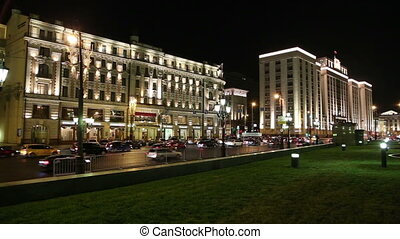 Traffic of cars in Moscowat night - Traffic of cars and...