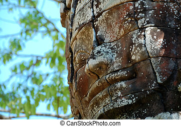 Ancient face in angkor thom